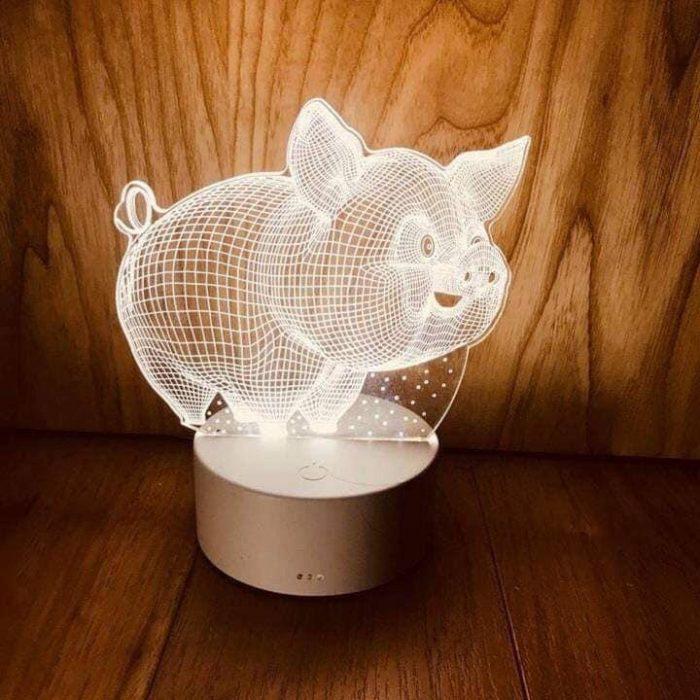 2. Đèn ngủ 3D hình chú heo