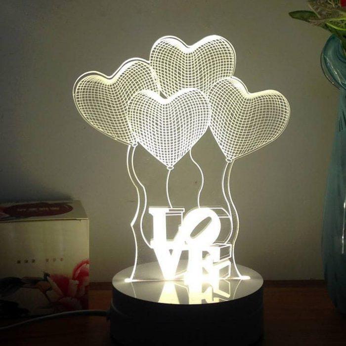 5. Đèn ngủ 3D hình trái tim LOVE