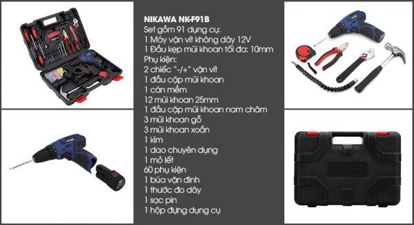 Bộ khoan vặn vít không dây Nikawa